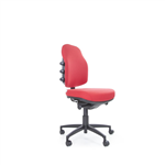 bEXACT PRIME LOW BACK MEDIUM G2 GEL TEQ SEAT 3 LEVER MECH CHAIR WITH SEAT SLIDE BLACK BASE STANDARD CASTORS NO ARMS IN HOUSE FAB B FABRIC RANGE