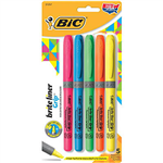BIC BRITELINER GRIP HIGHLIGHTER PEN STYLE CHISEL ASSORTED PACK 5