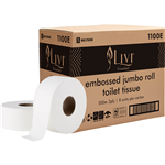 LIVI ESSENTIALS JUMBO ROLL TOILET EMBOSSED 2 PLY 300M CARTON 8