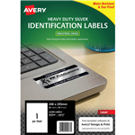 AVERY 959204 L6013 HEAVY DUTY LASER LABELS 1UP SILVER PACK 20