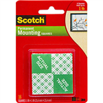 SCOTCH 111P MOUNTING SQUARES PERMANENT 25MM WHITE PACK 16