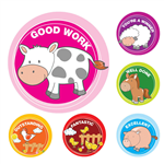 AVERY 69604 MERIT STICKERS FARM ANIMALS PACK 96