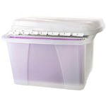 CRYSTALFILE PORTA STORAGE BOX WITH FILES TABS AND INSERTS 32 LITRE CLEAR