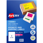 AVERY 35998 L7167FP HIGH VISIBILITY SHIPPING LABEL LASER 1UP FLUORO PINK PACK 25