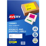 AVERY 35942 L7162FY HIGH VISIBILITY SHIPPING LABEL LASER 16UP FLUORO YELLOW PACK 25