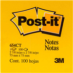 3M 654CT POSTIT NOTES 76X76MM NEON CITRUS PK12    MPC1