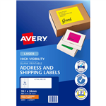 AVERY 35972 L7162FO HIGH VISIBILITY SHIPPING LABEL LASER 16UP FLUORO ORANGE PACK 25