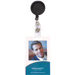 REXEL RETRACTABLE CARD HOLDER WITH STRAP BLACK HANGSELL