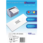 UNISTAT 38937 MULTIPURPOSE LABEL 14UP 98 X 38MM WHITE PACK 100
