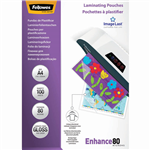 FELLOWES ENHANCE LAMINATING POUCH GLOSS 80 MICRON A4 CLEAR PACK 100