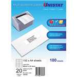 UNISTAT 38936 MULTIPURPOSE LABEL 20UP 98 X 254MM WHITE PACK 100