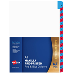 AVERY 85742 DIVIDER MANILLA AZ A4 WHITE WITH RED AND BLUE PLASTIC TABS