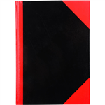 BLACK AND RED NOTEBOOK CASEBOUND RULED 200 PAGE A5 GLOSS COVER
