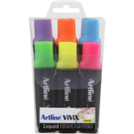 ARTLINE VIVIX HIGHLIGHTER CHISEL ASSORTED WALLET 6