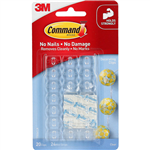 COMMAND ADHESIVE DECORATING CLIPS CLEAR PACK 20 CLIPS AND 24 STRIPS