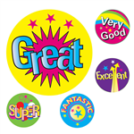 AVERY 69623 MERIT STICKERS MULTI CAPTIONS 22MM ASSORTED COLOURS PACK 200