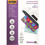 FELLOWES IMAGELAST LAMINATING POUCH GLOSS 80 MICRON A3 CLEAR PACK 100