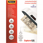 FELLOWES IMAGELAST LAMINATING POUCH GLOSS 125 MICRON A4 CLEAR PACK 100