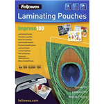 FELLOWES IMPRESS LAMINATING POUCH GLOSS 100 MICRON A4 CLEAR PACK 100