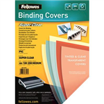 FELLOWES BINDING COVER PVC 200 MICRON A4 CLEAR PACK 100