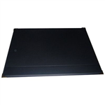CUMBERLAND DESK MAT EXECUTIVE WITH STRIP AND CORNERS STITCHEDGOLD CORNERS 487 X 610MM PVC BLACK