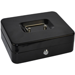ITALPLAST DELUXE METAL CASH BOX 8 INCH BLACK