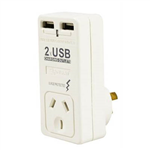 ITALPLAST SINGLE ADAPTOR WITH SURGE PROTECTION  2 X USB WHITE
