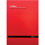 COLLINS A24 SERIES ACCOUNT BOOK FEINT RULED STAPLED 24 LEAF A4 RED