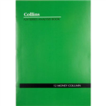 COLLINS A24 SERIES ANALYSIS BOOK 12 MONEY COLUMN FEINT RULED STAPLED 24 LEAF A4 GREEN