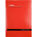 COLLINS A24 SERIES ACCOUNT BOOK 4 MONEY COLUMN FEINT RULED STAPLED 24 LEAF A4 RED
