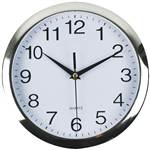 ITALPLAST WALL CLOCK 260MM CHROME  WHITE