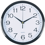 ITALPLAST WALL CLOCK 300MM GLASS BLACK  WHITE