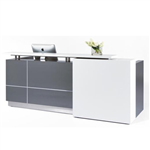 CALVIN RECEPTION COUNTER 2500 X 950 X 1150MM METALLIC GREY