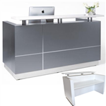 HUGO RECEPTION COUNTER 1800 X 950 X 1150MM METALLIC GREY