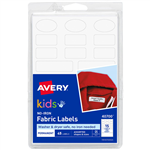 AVERY 40700 NOIRON KIDS FABRIC LABEL ASSORTED SHAPES WHITE PACK 45