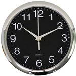 ITALPLAST WALL CLOCK 300MM CHROME  BLACK
