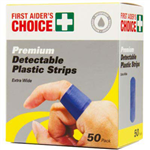 FIRST AIDERS CHOICE BLUE DETECT PLASTIC STRIPS PACK 50
