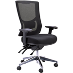 BURO METRO II 247 TASK CHAIR HIGH MESH BACK 3LEVER POLISHED ALUMINIUM BASE ARMS BLACK