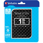 VERBATIM STORENGO GRID DESIGN USB 30 PORTABLE HARD DRIVE 1TB BLACK
