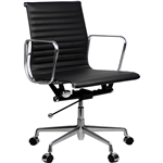AERO MANAGERS CHAIR MEDIUM BACK ARMS LEATHER BLACK