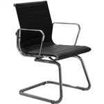 AERO VISITOR CHAIR CANTILEVER BASE MEDIUM BACK ARMS LEATHER BLACK