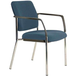 BURO LINDIS VISITOR CHAIR 4LEG BASE UPHOLSTERED BACK ARMS JETT FABRIC DARK BLUE