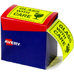 AVERY 932618 MESSAGE LABEL GLASS WITH CARE 75 X 996MM FLUORO YELLOW PACK 750