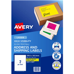 AVERY 36100 L7168FY HIGH VISIBILITY SHIPPING LABEL LASER 2UP FLUORO YELLOW PACK 25
