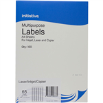 INITIATIVE MULTIPURPOSE LABELS 65UP 381 X 212MM PACK 100