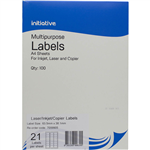 INITIATIVE MULTIPURPOSE LABELS 21UP 635 X 381MM PACK 100