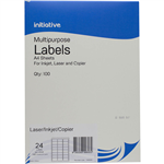 INITIATIVE MULTIPURPOSE LABELS 24UP 64 X 338MM PACK 100