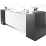 ASTON RECEPTION COUNTER WITH SIDE BOOKSHELVES 3100 X 810 X 1150MM WHITEDARK CHOCOLATE BROWN