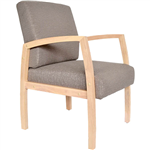 BELLA GUEST CHAIR MEDIUM BACK TIMBER FRAME GRAVEL FABRIC