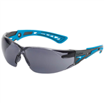BOLLE SAFETY RUSH PLUS SMALL SAFETY GLASSES BLUE AND BLACK ARMS SMOKE LENS